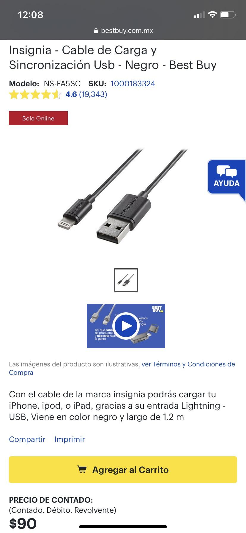 BestBuy: Insignia Cable Lightning MFI certificado