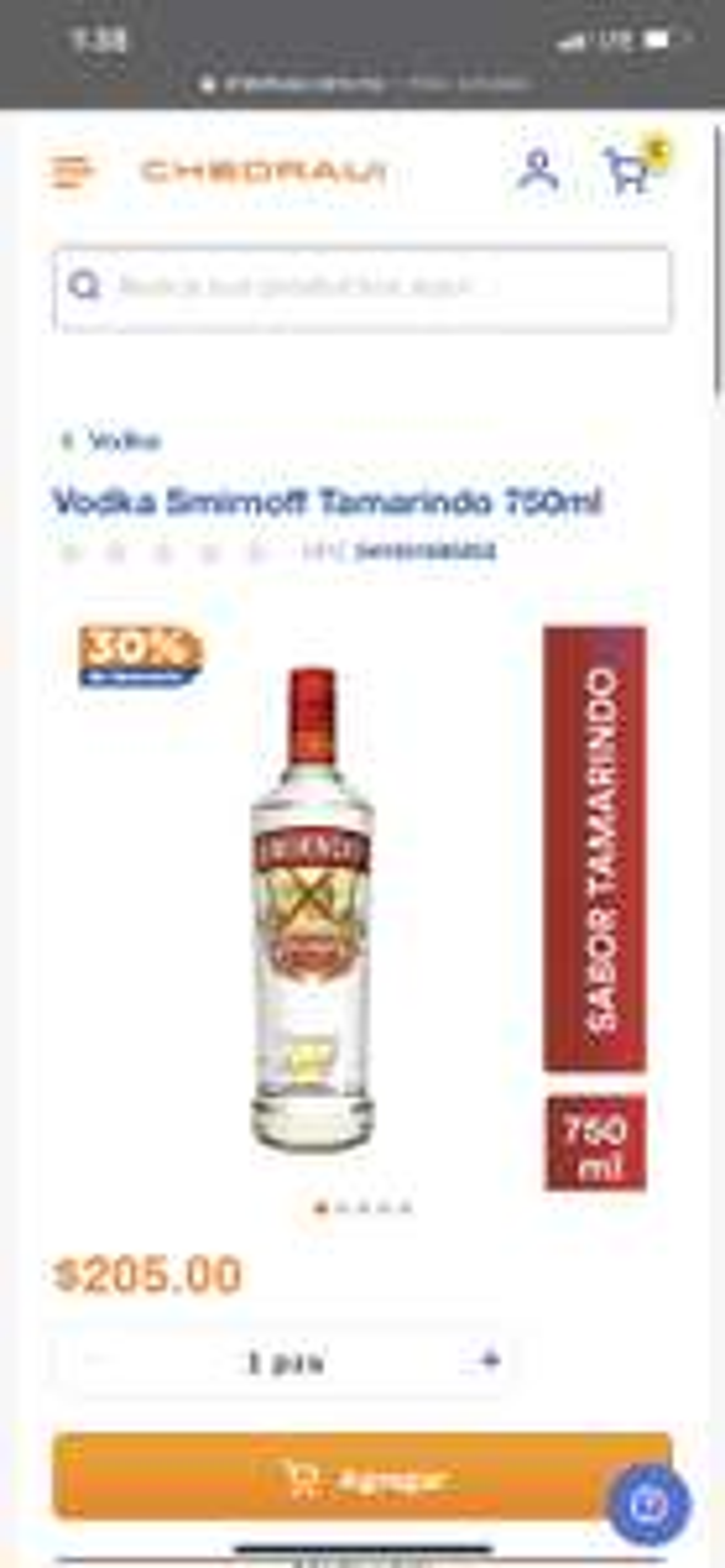 Chedraui: SMIRNOFF TAMARINDO 750 ML
