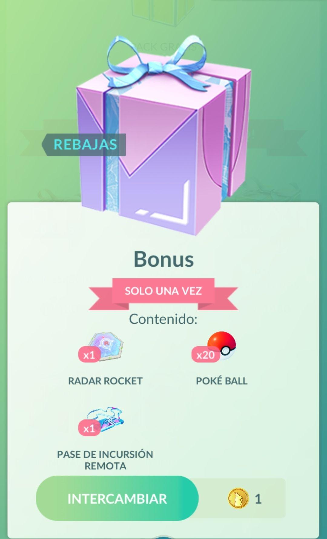Pokemon Go: 1 Pase remoto, 1 Radar y 20 Pokeballs