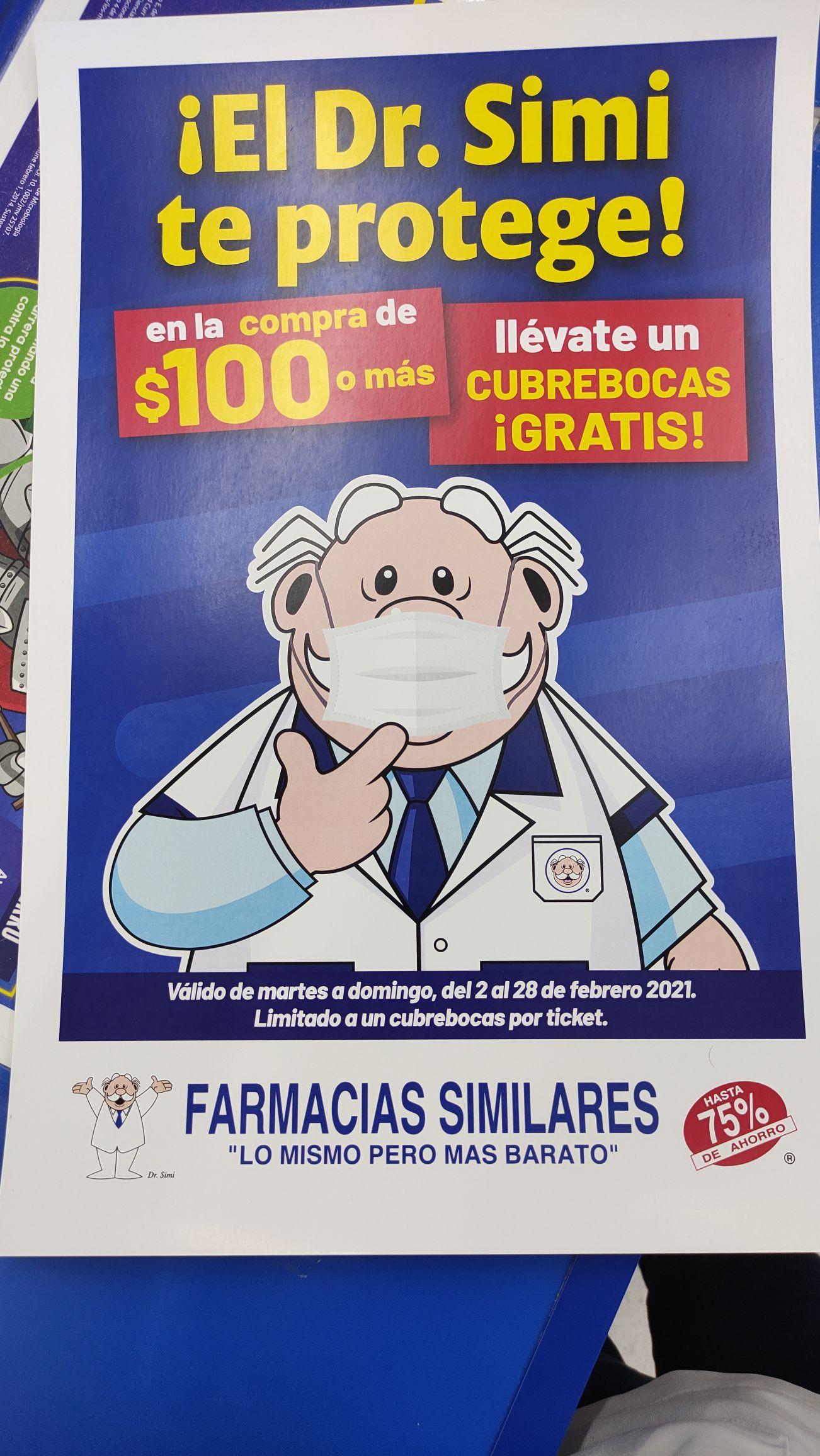 Farmacias Similares: Cubrebocas GRATIS por cada $100 de compra