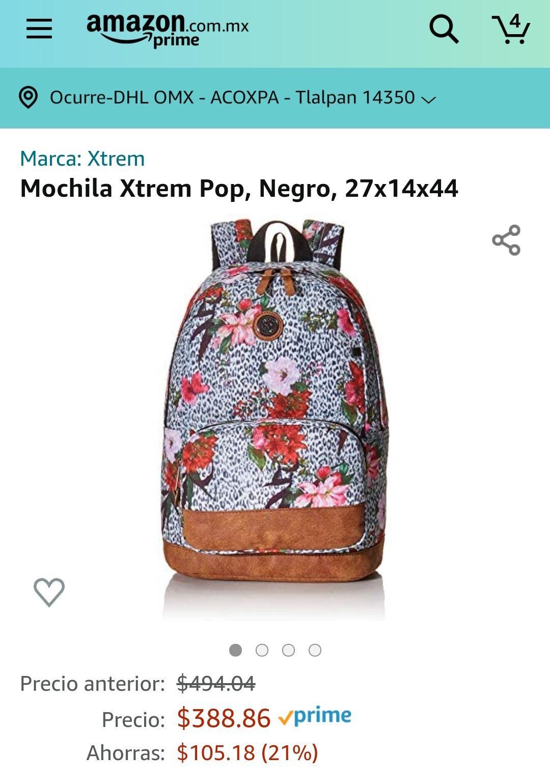 Amazon: Mochila Xtrem Pop, Negro, 27x14x44