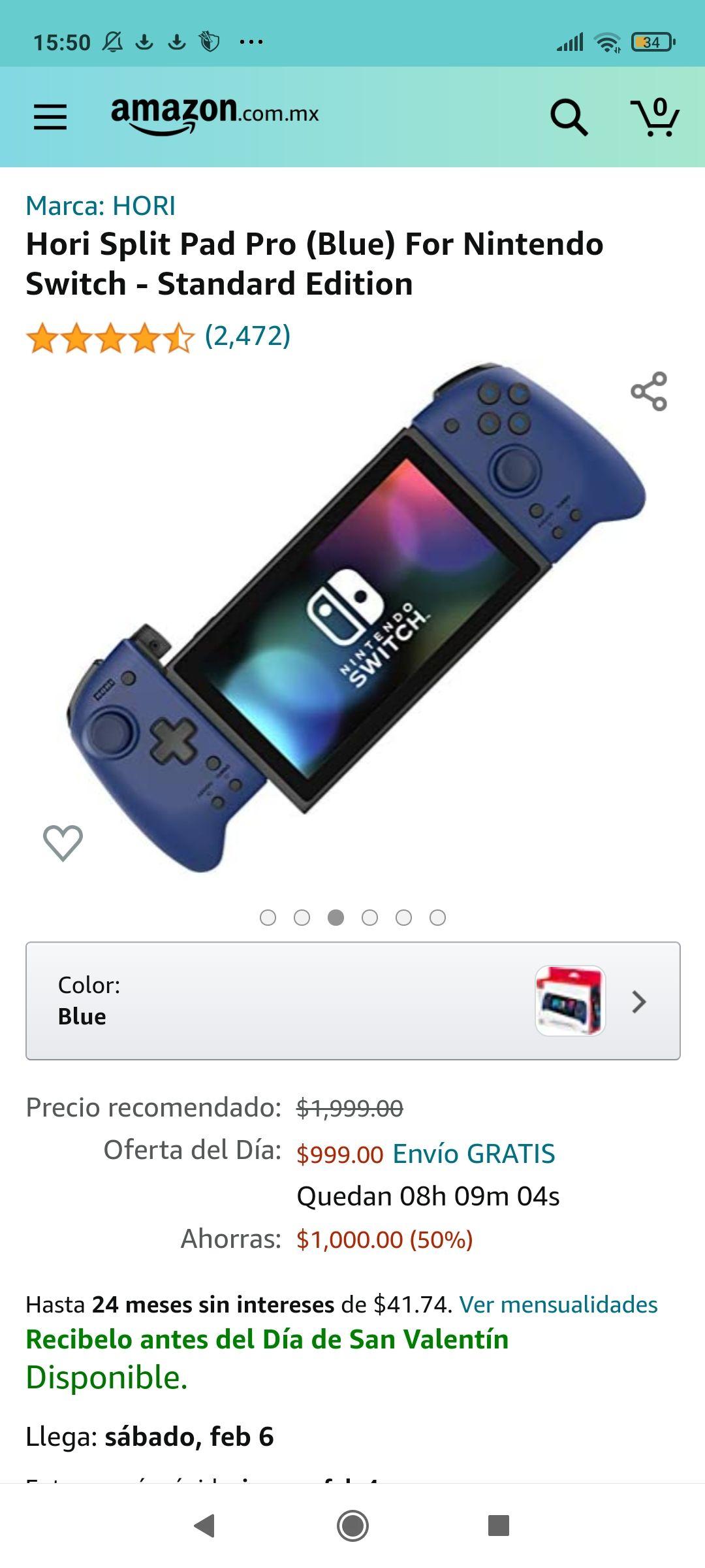 Amazon: Hori Split Pad Pro (Blue) For Nintendo Switch - Standard Edition