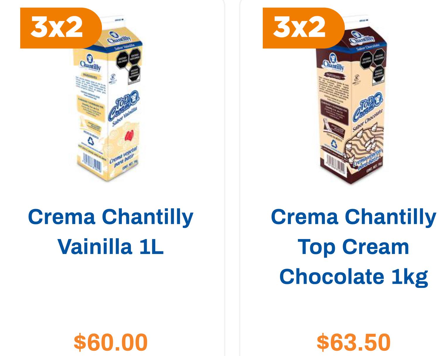 Chedraui 3x2 Crema Chantilly 1 kg vainilla o chocolate