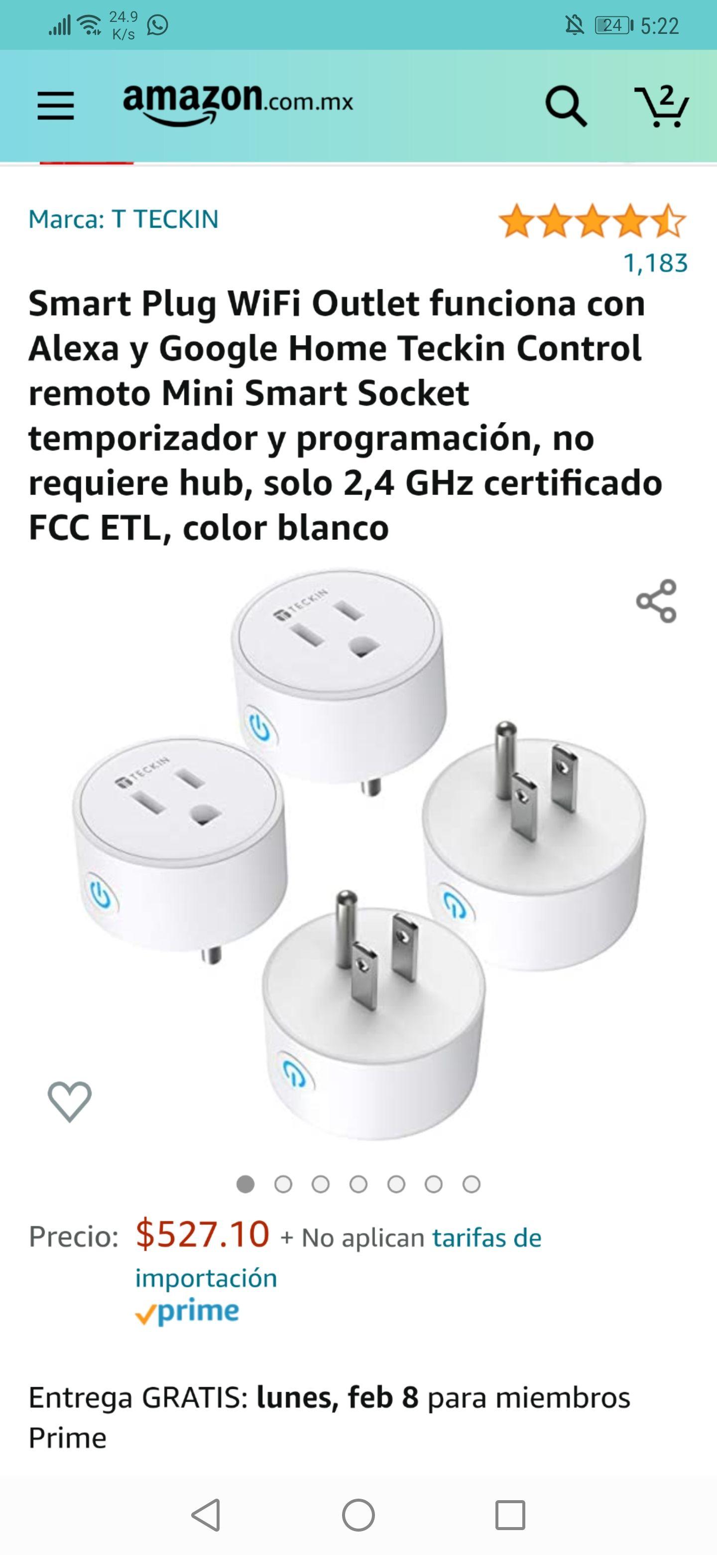 Amazon : Smart Plug WiFi paquete de 4 , funciona con Alexa y Google Home precio más bajo histórico