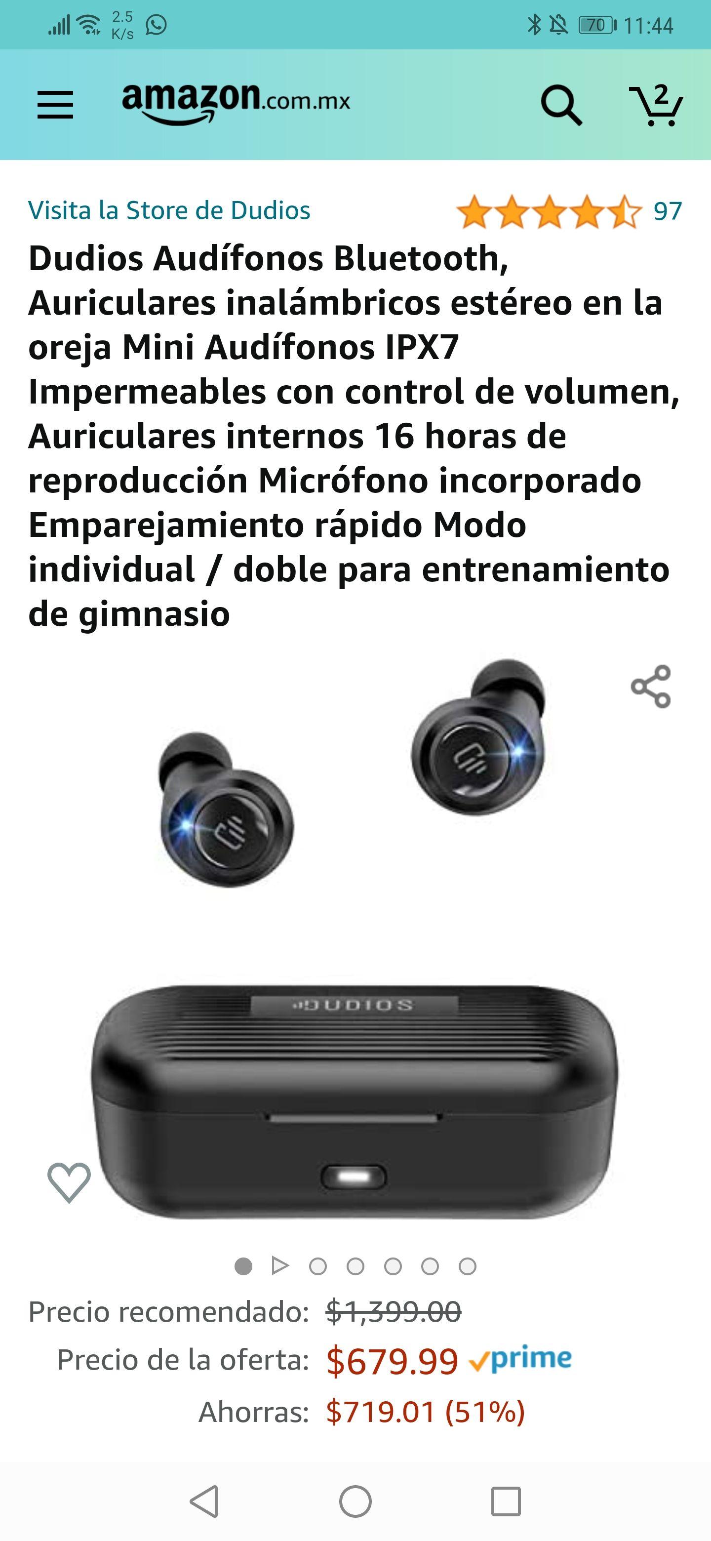 Amazon: Dudios Audífonos Bluetooth mejor precio histórico