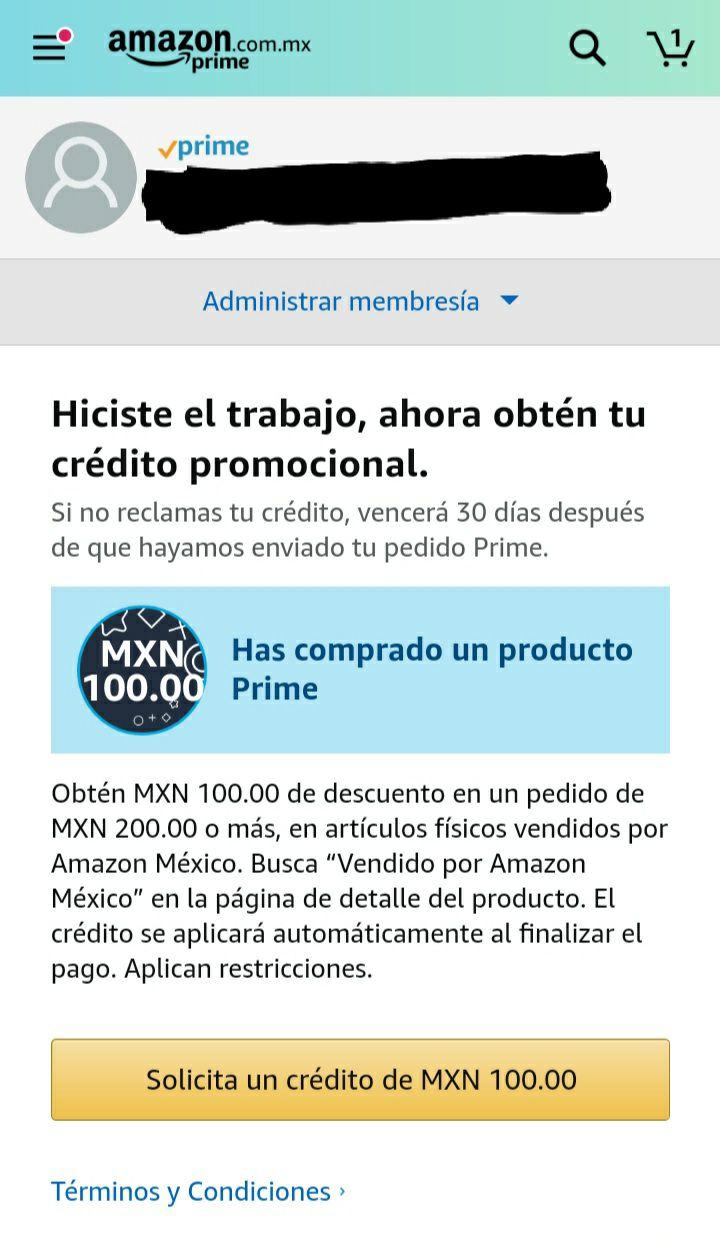 Amazon Prime: Crédito de $100 en compra mínima de $200