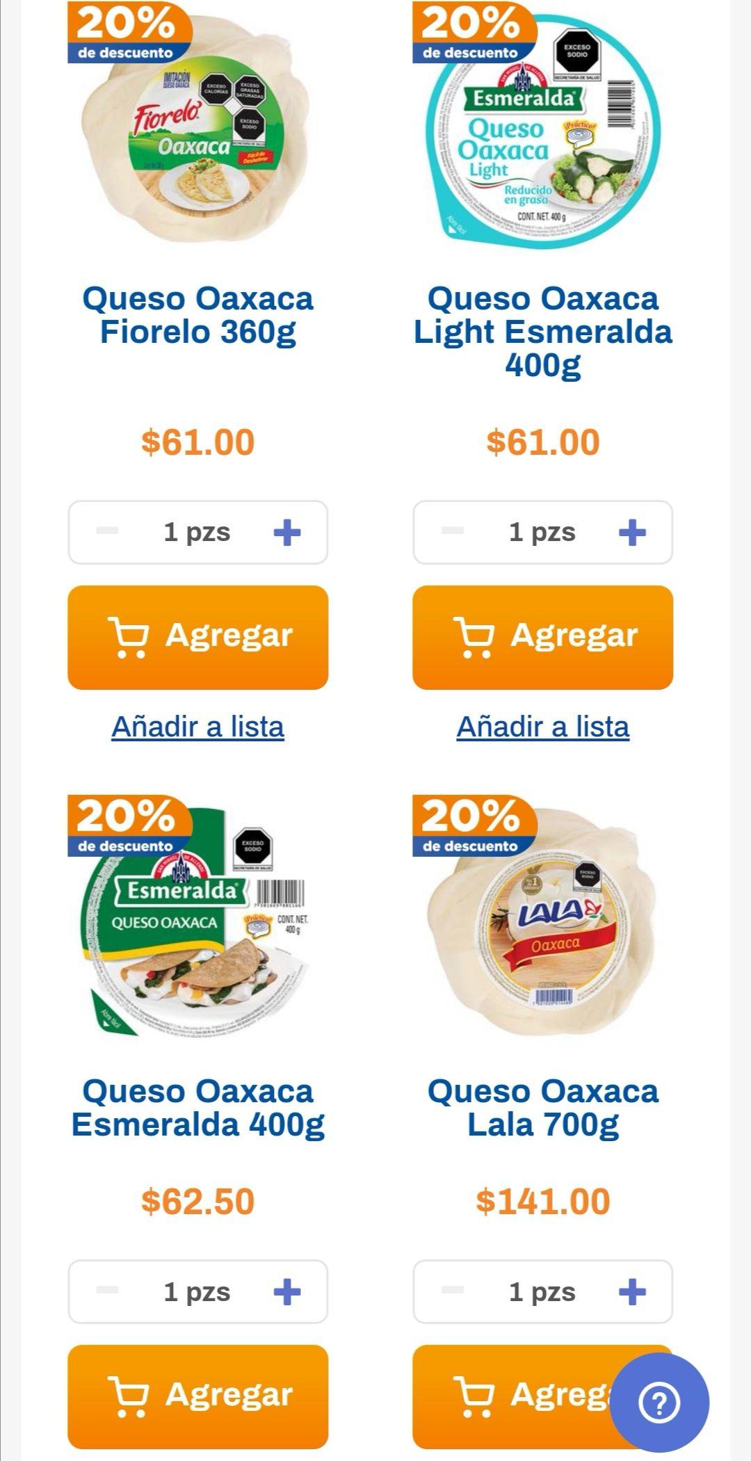Chedraui: 20% de descuento en la compra de 2 o más quesos Oaxaca empacados