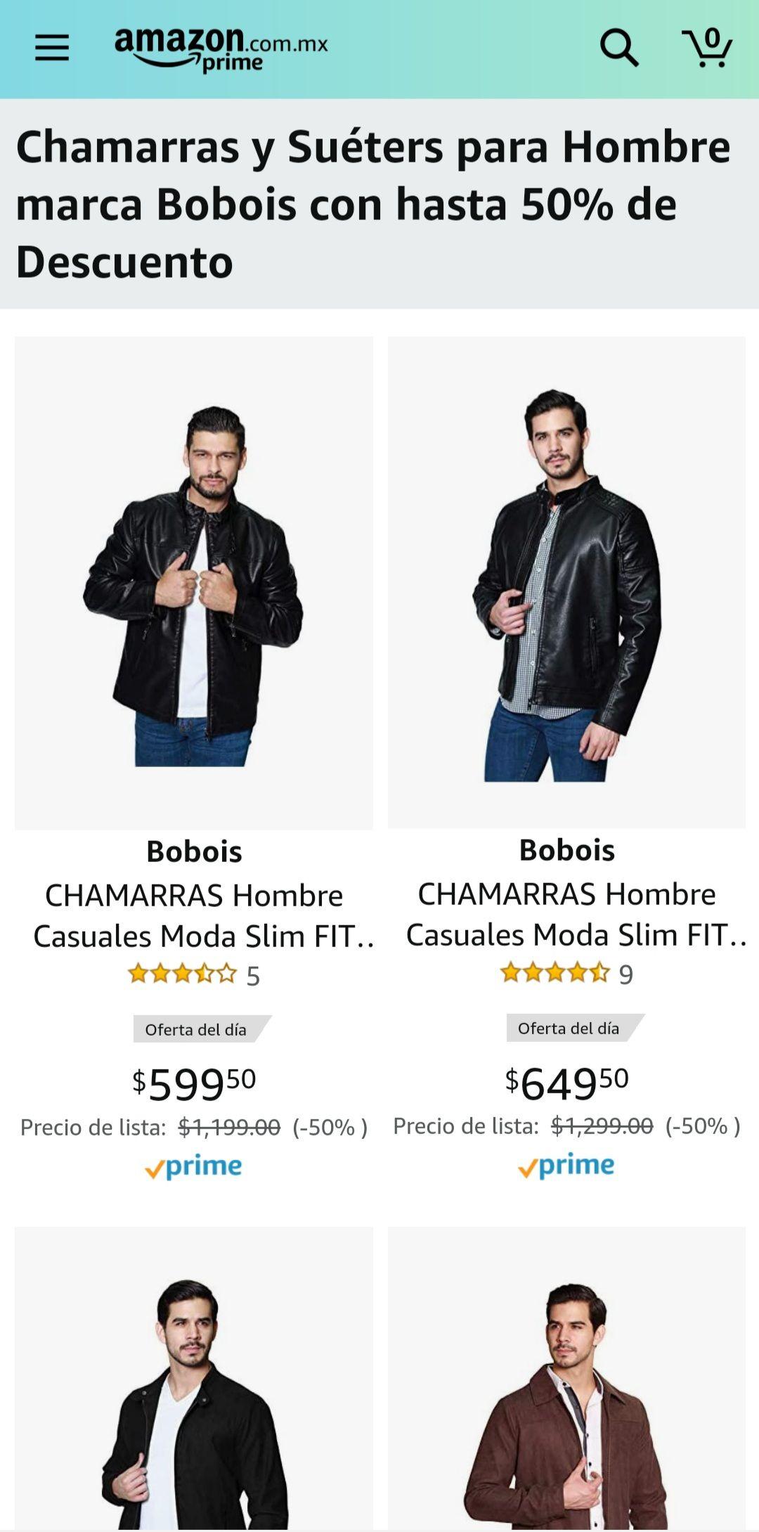 Amazon: Chamarras y Suéters para Hombre Bobois hasta 50%