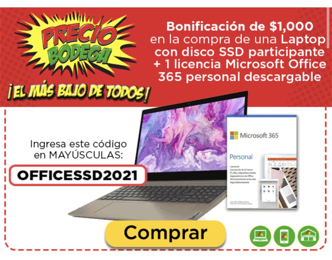 Bodega Aurrerá y Walmart: 1000 de descuento comprando una laptop seleccionada y Office