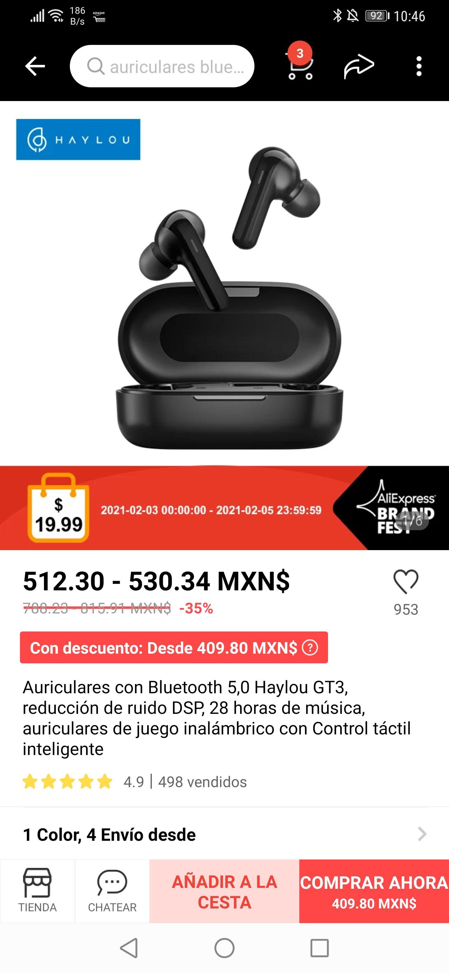 AliExpress: HAYLOU GT3 con carga tipo C, precio con cupón de vendedor