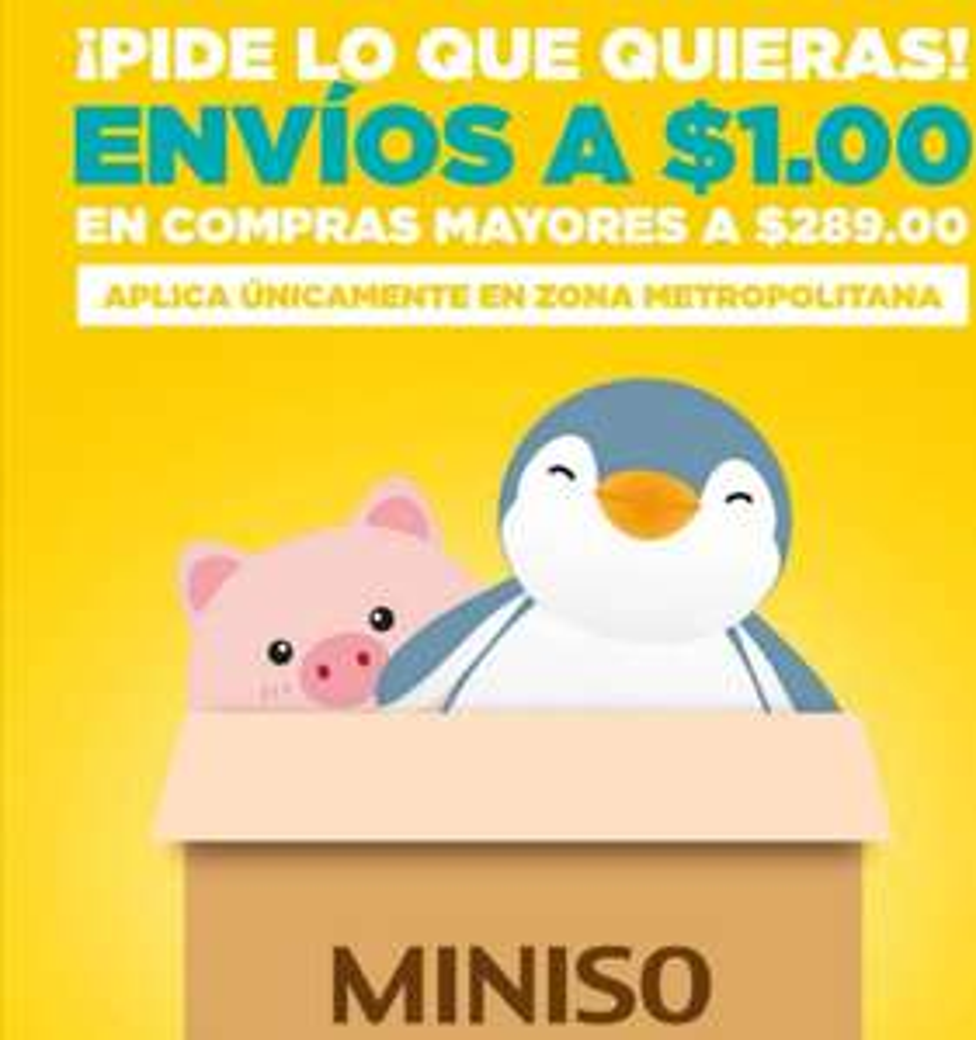 Miniso: Envío a $1 a partir de $289 de compra. Cdmx y Edo. Mex. (Jalisco y resto del país, revisar descripción)