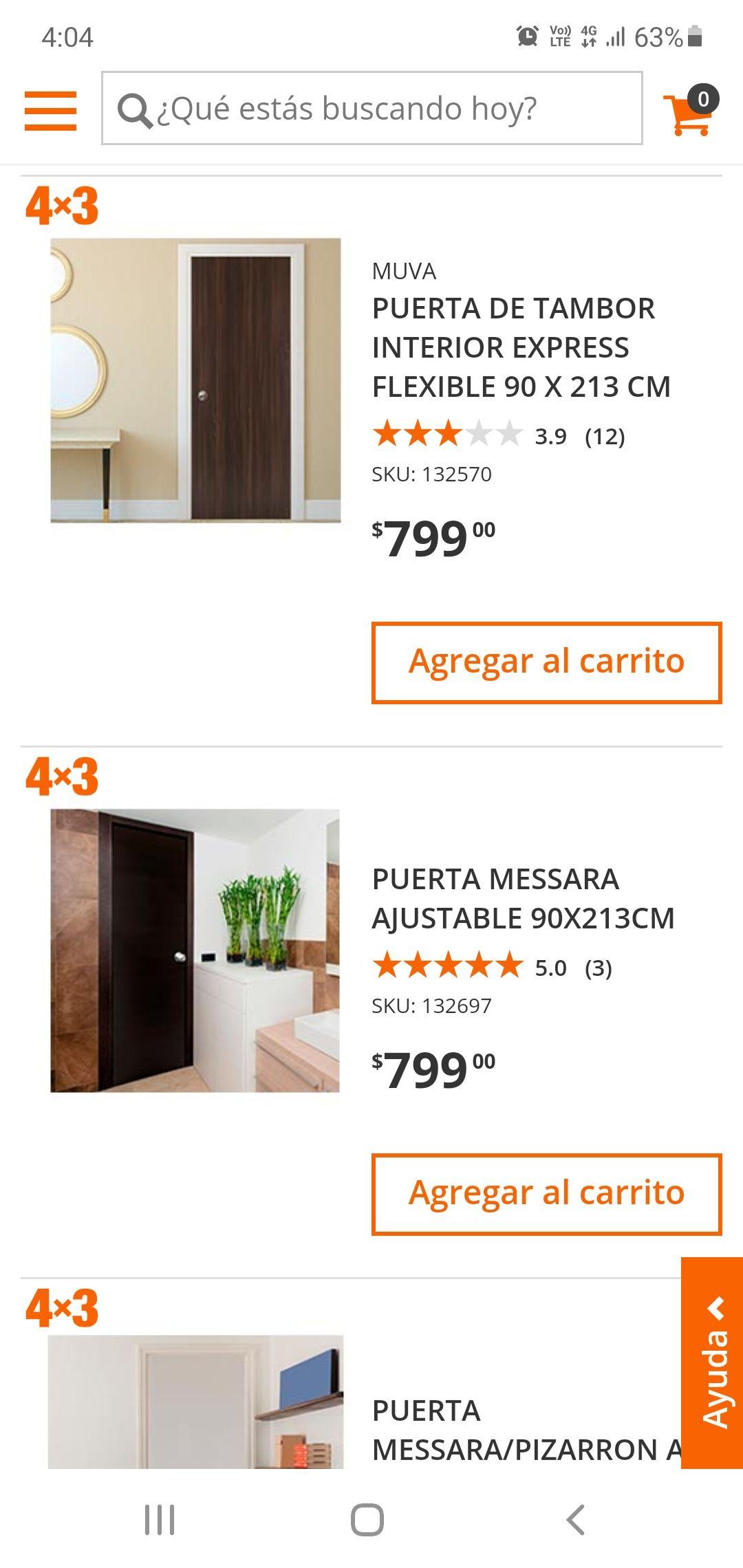 home depot 4x3 en varias puertas de madera diferentes colores