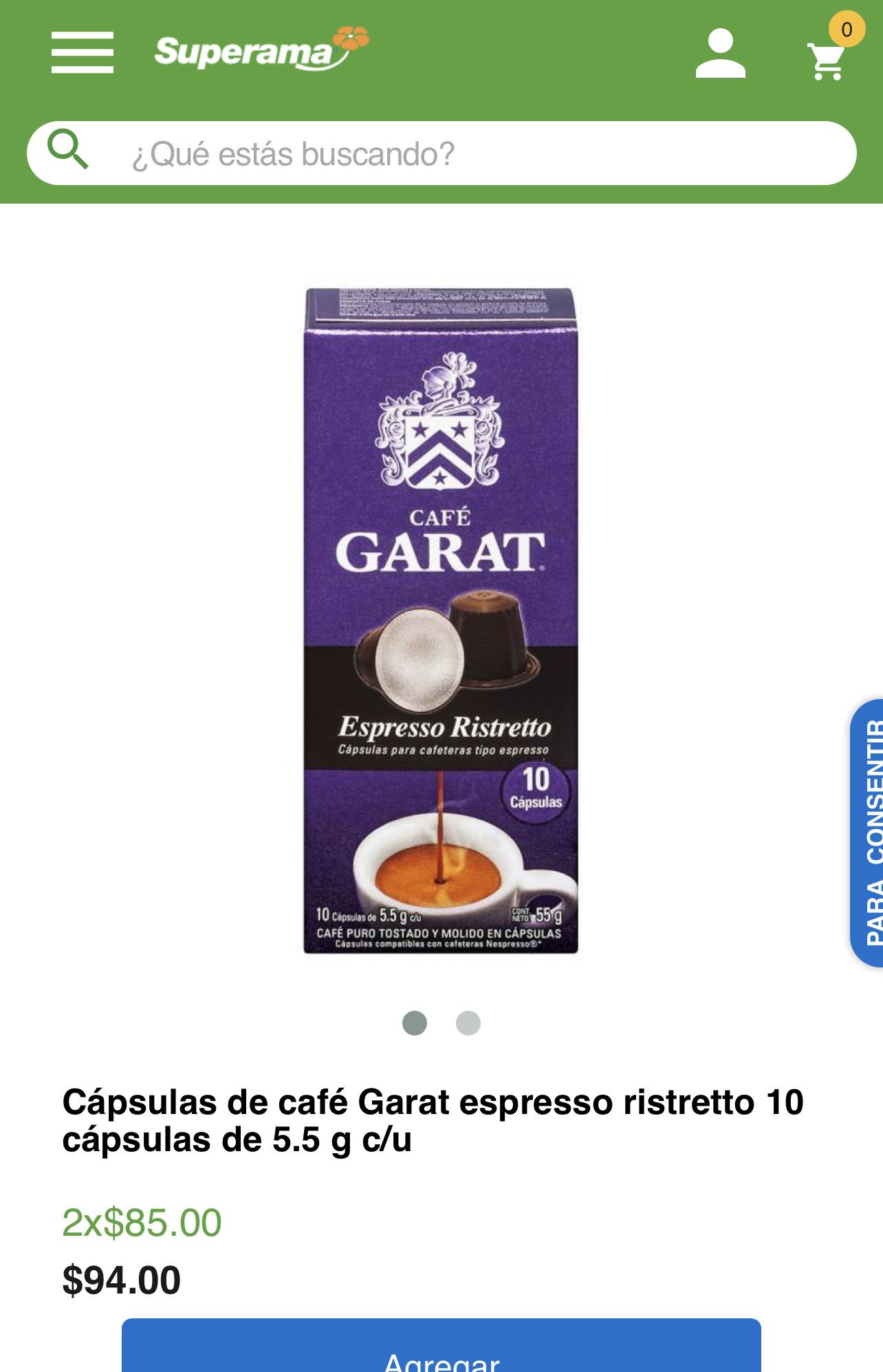 Superama en línea Cápsulas de café Garat 2 por $85