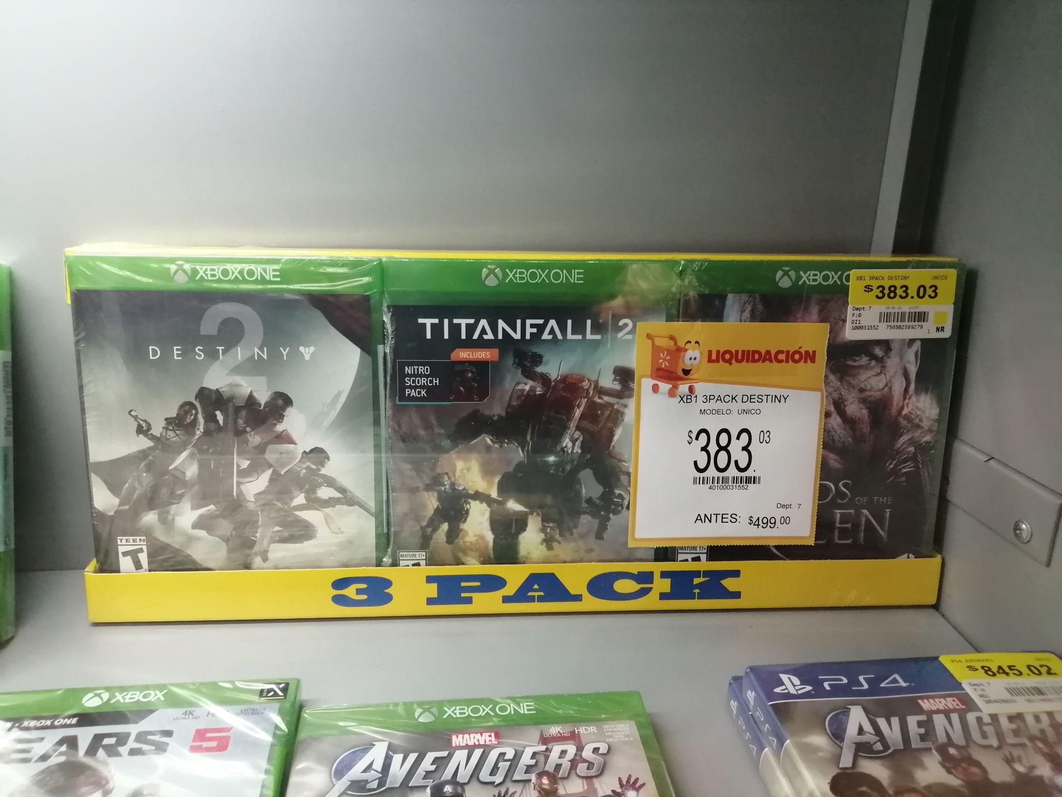 Walmart Torreón: paquete de 3 juegos Xbox One