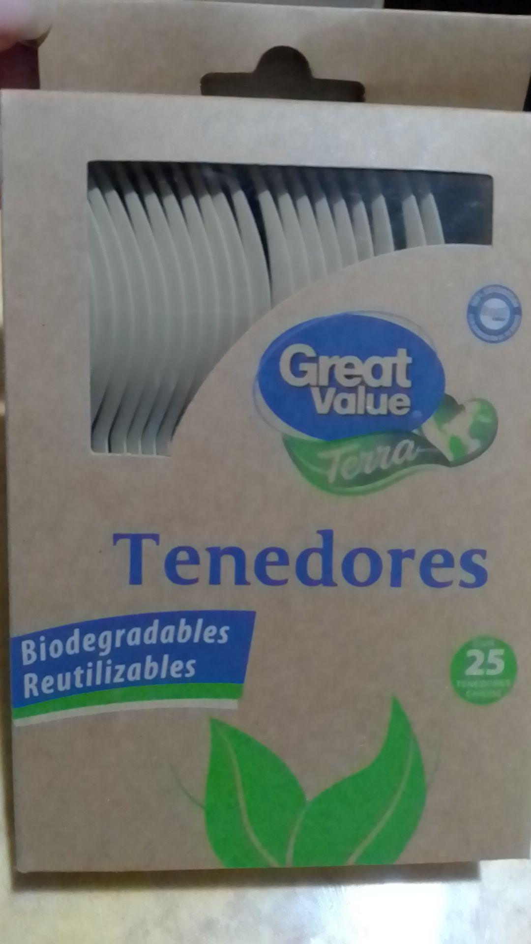 Bodega Aurrera: REMATE de tenedores biodegradables