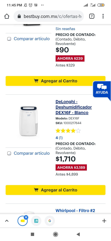 Best Buy: DeLonghi - Deshumidificador DEX16F - Blanco