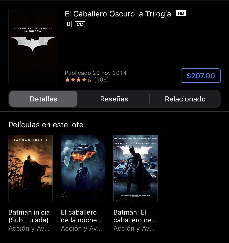 iTunes: El Caballero Oscuro, la trilogía