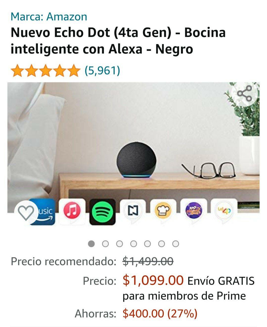 Amazon: Alexa Echo dot 4º generación y si pones $100 un foco inteligente