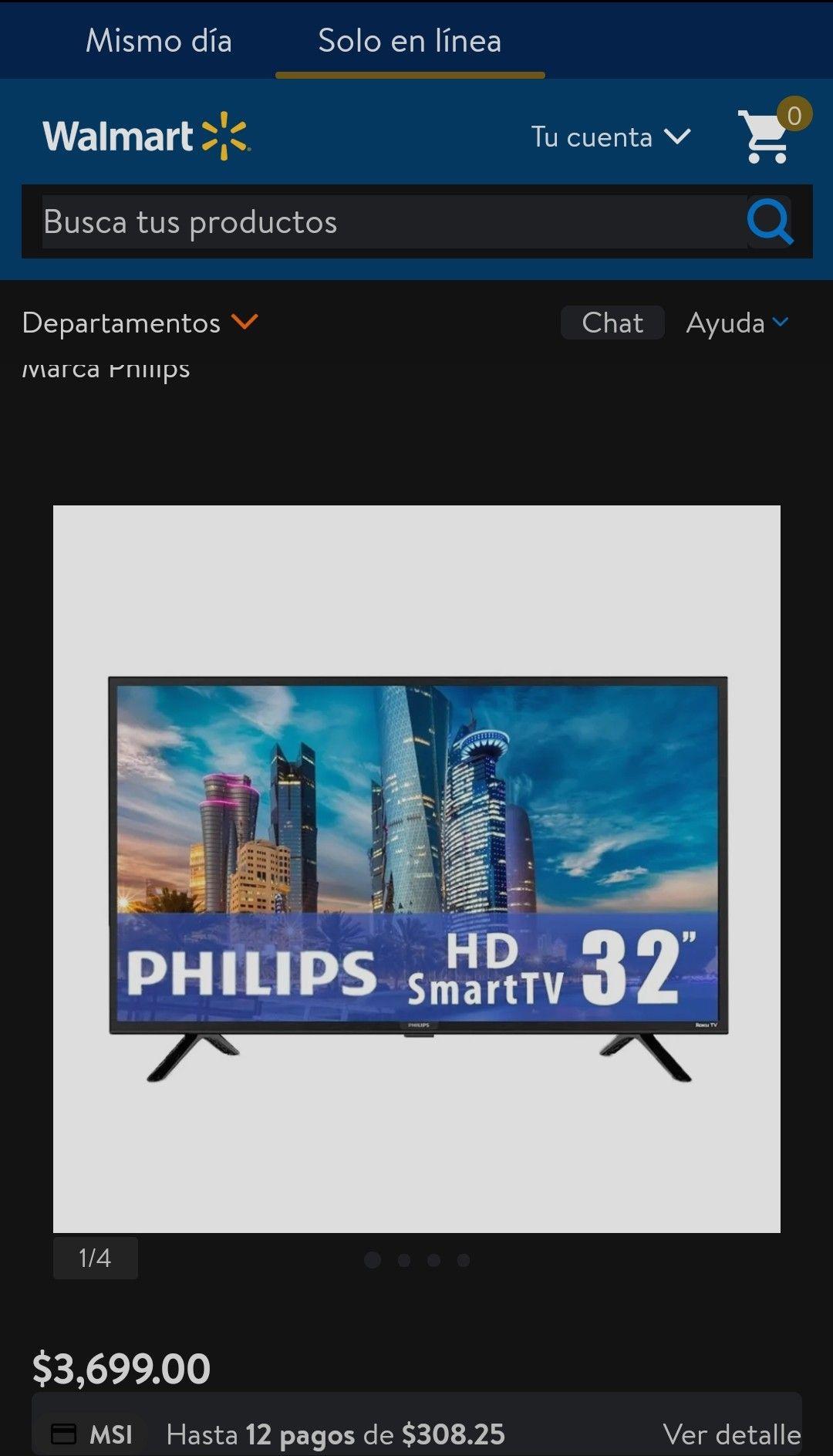 Walmart y Bodega Aurrera: TV Philips 32 Pulgadas HD Smart TV