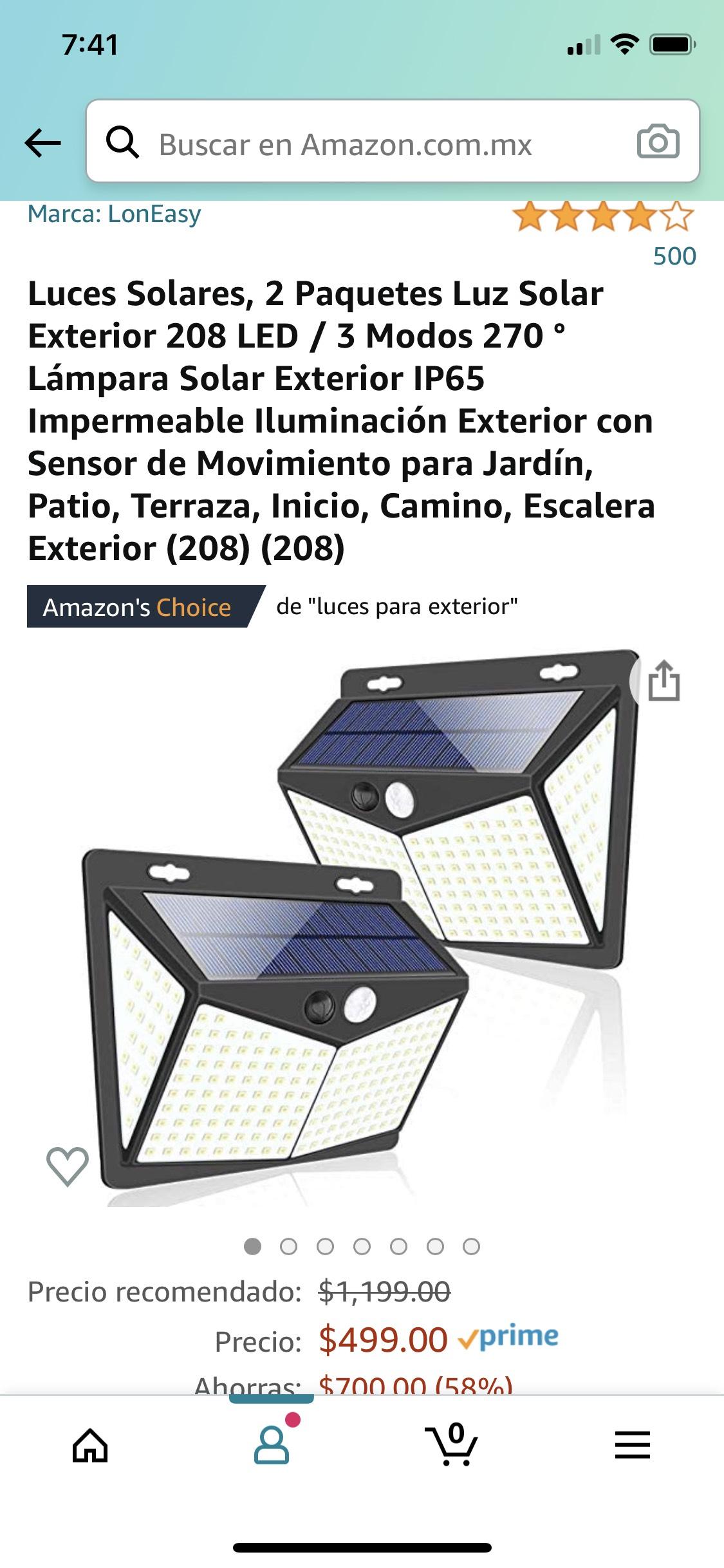 Amazon: Luz Solar 208 Led - 2 piezas