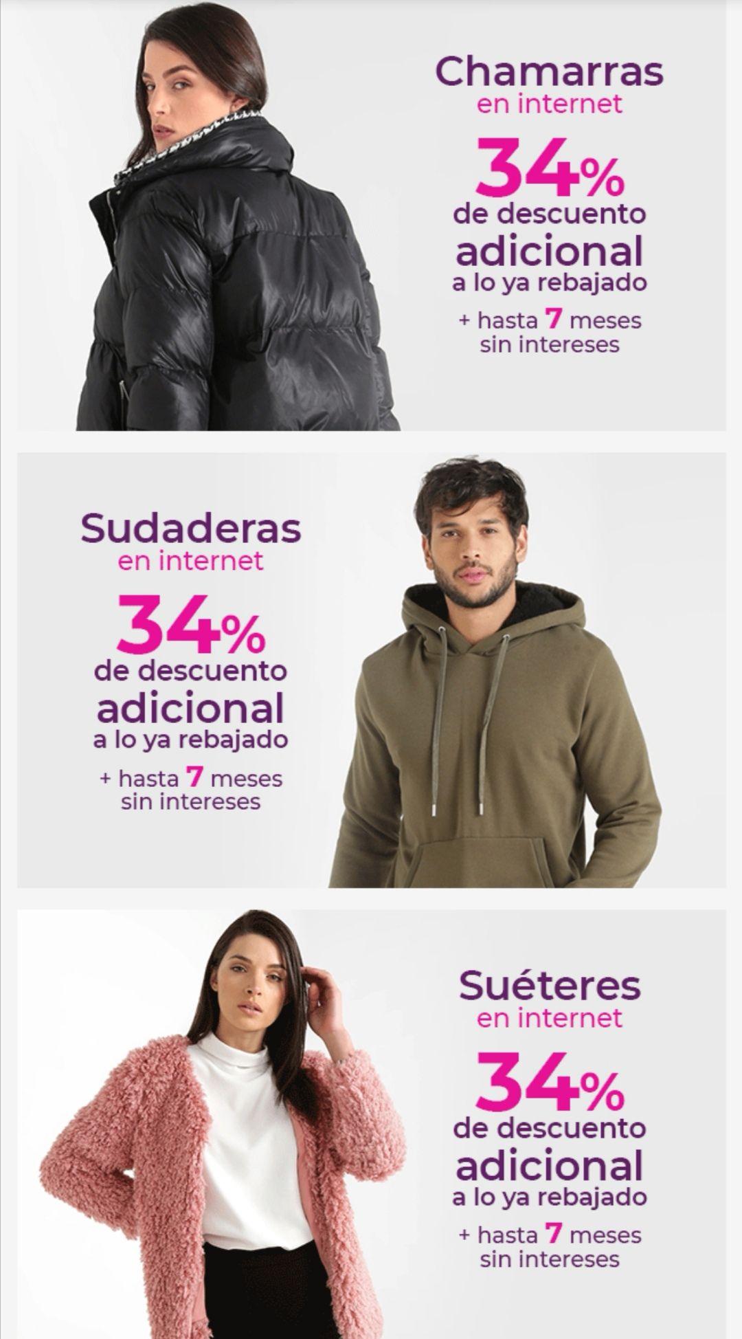 Suburbia: 34% de descuento en tienda en línea (ó 3x2 en tienda física) en chamarras, sudaderas, suéteres y chalecos