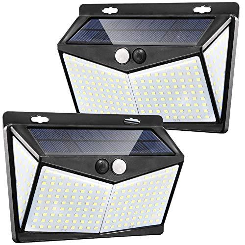 Amazon, Luces solares con sensor solar IP65 resistentes al agua con 208 LED paquete de 2