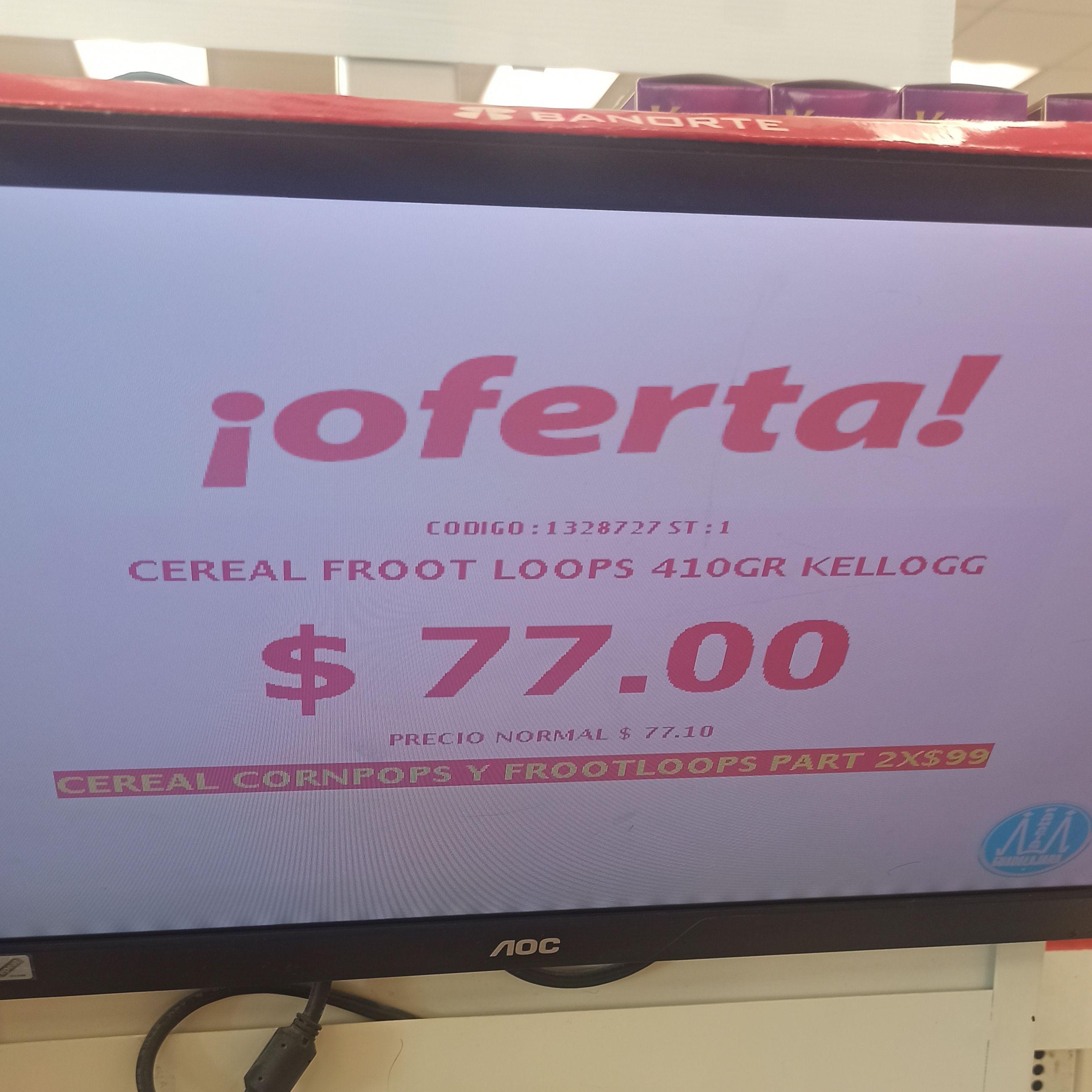 Farmacias Guadalajara: Corn Pops y Froot Loops 2x$99