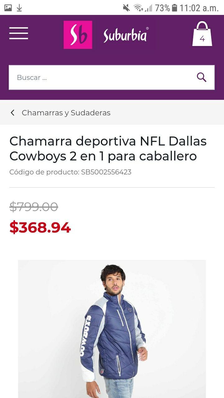 Suburbia, Chamarra deportiva NFL Dallas Cowboys 2 en 1 para caballero