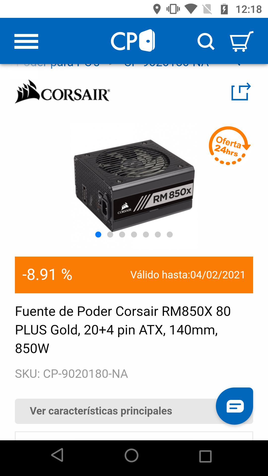CyberPuerta Fuente de Poder Corsair RM850X 80 PLUS Gold, 20+4 pin ATX, 140mm, 850W