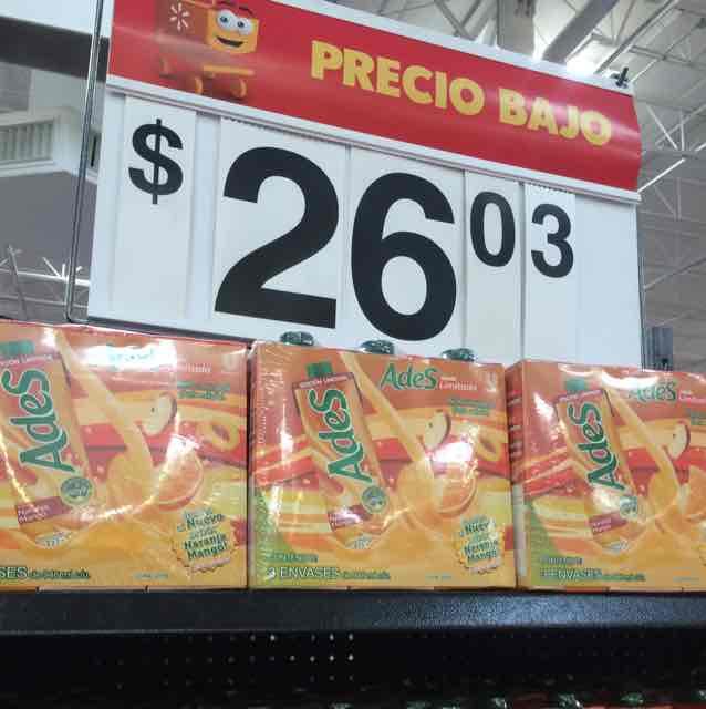 Walmart aviación GDL: Paquete 3 jugos Ades $26.03