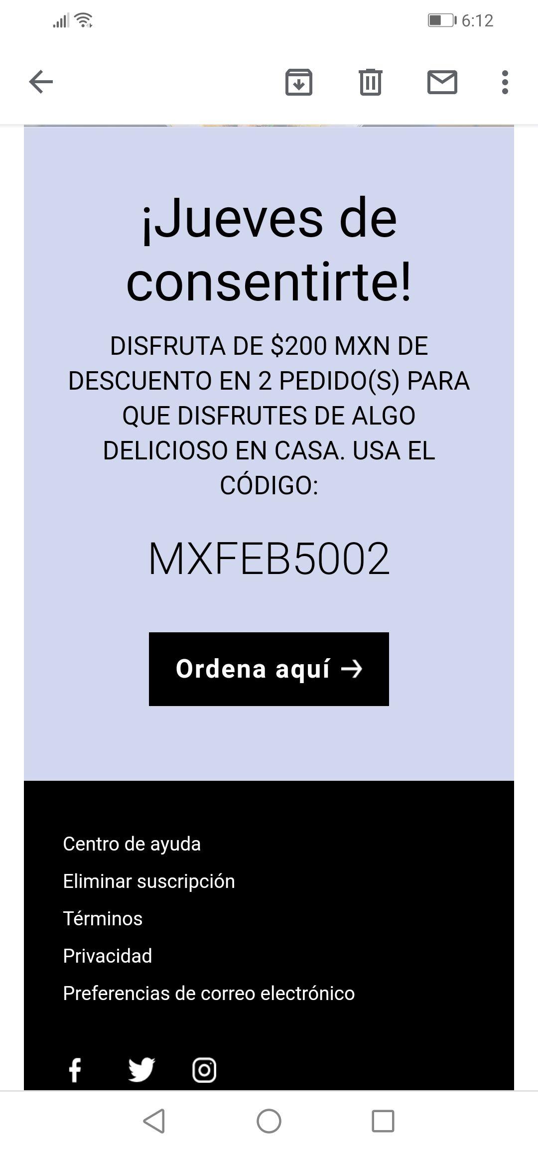 2 Cupones $200 Uber Eats comprando $500