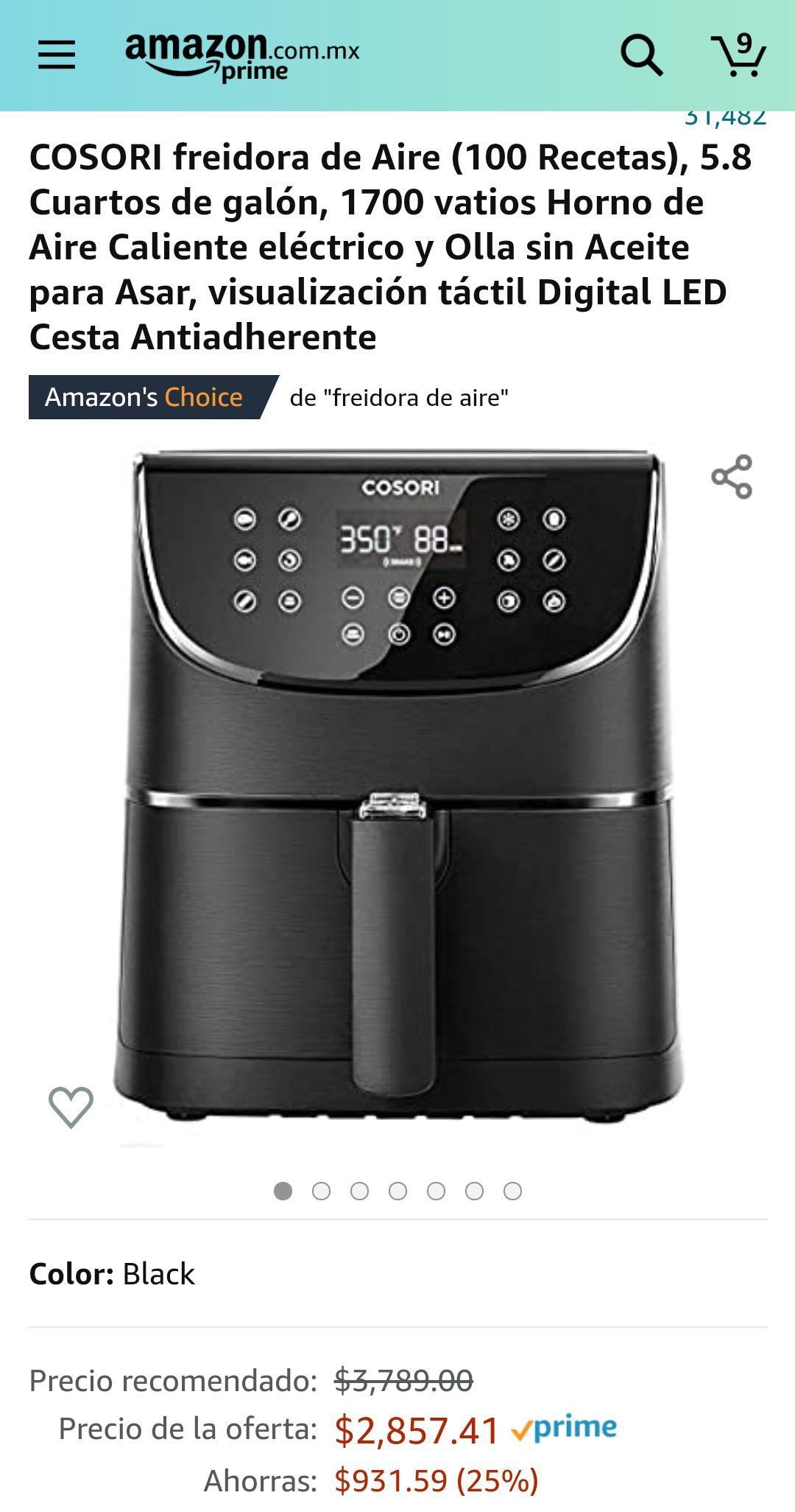 Amazon: COSORI freidora de Aire 5.8 Cuartos de galón, 1700 vatios Horno de Aire Caliente eléctrico y Olla sin Aceite para Asar