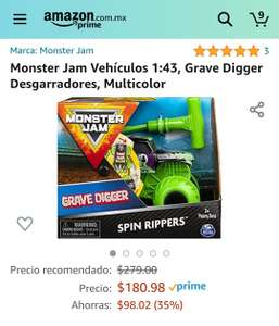 Amazon: Monster Jam Vehículos 1:43, Grave Digger Desgarradores, Multicolor