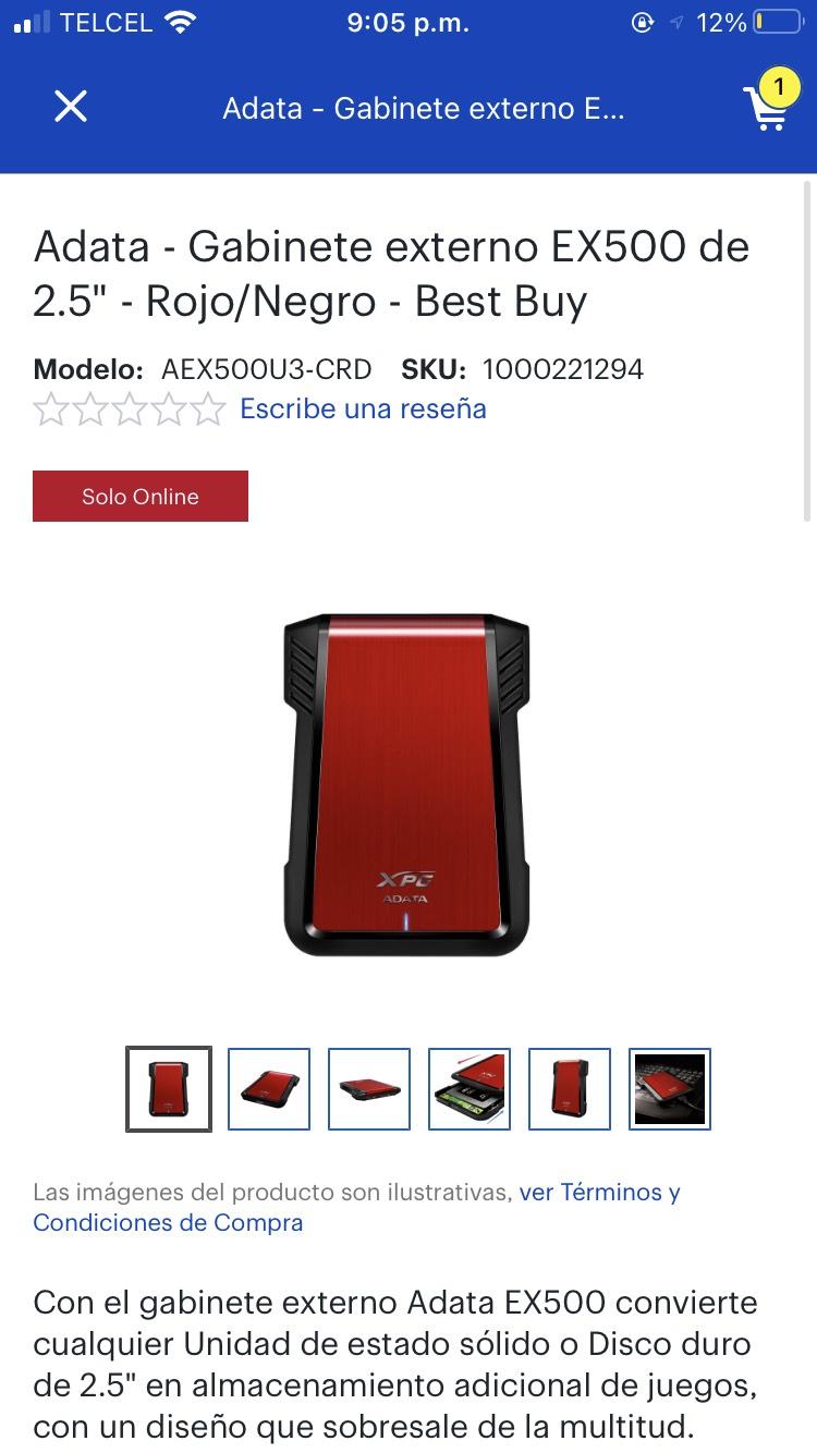 "Adata - Gabinete externo EX500 de 2.5"" - Rojo/Negro - Best Buy envio gratis"