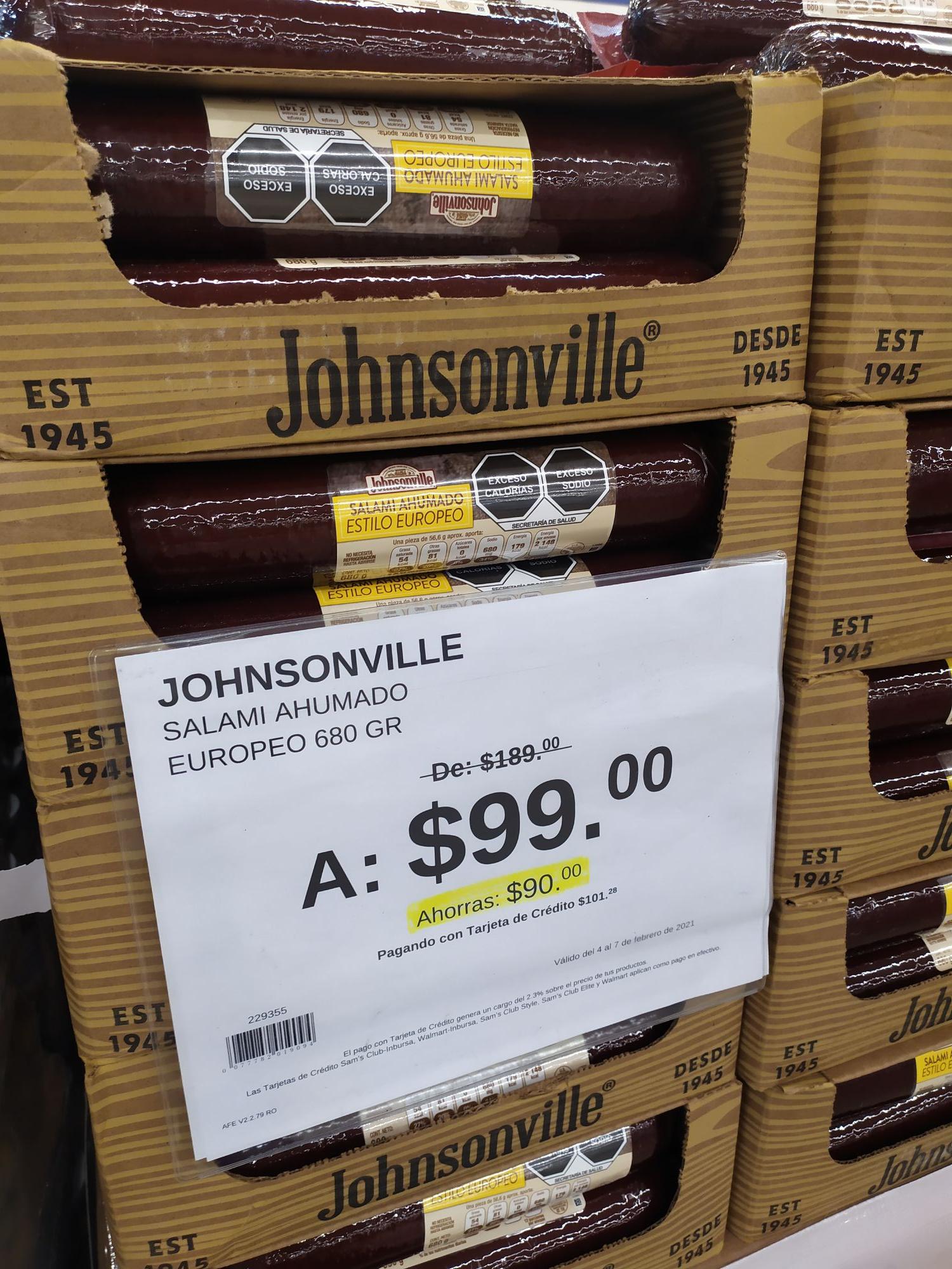 Sam's Club: Salami Europeo Jhonsonville $99