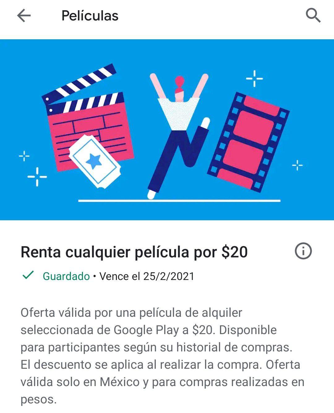 Google Play: Renta una película por $20 (usuarios seleccionados)