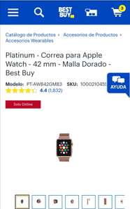 Platinum - Correa para Apple Watch - 42 mm - Malla Dorado - Best Buy