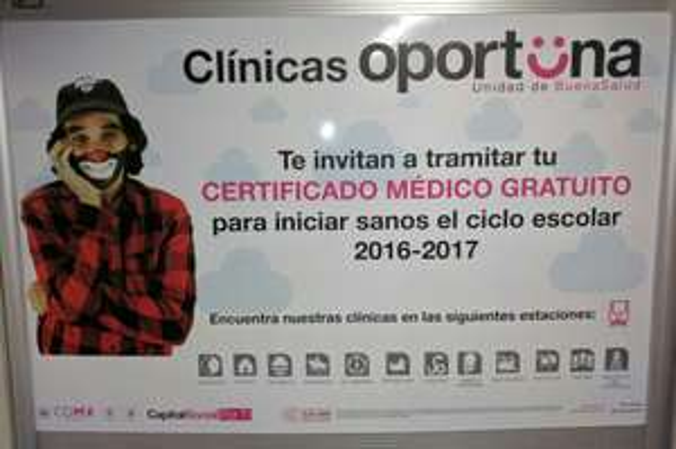Clínicas oportunidad, certificado médico gratuito