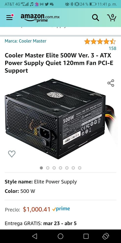 Amazon: Fuente de poder Cooler Master Elite 500W Ver. 3 - ATX Power Supply Quiet 120mm Fan PCI-E Support