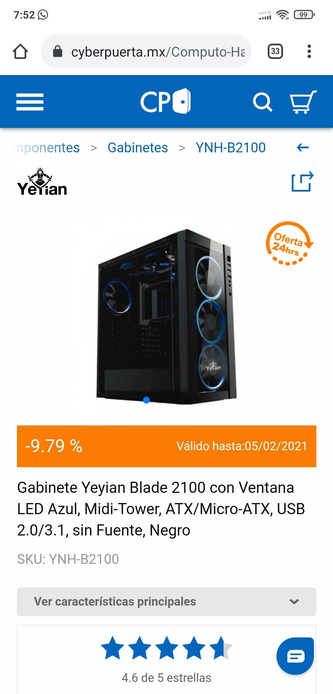 CyberPuerta Gabinete Yeyian Blade 2100 con Ventana LED Azul, Midi-Tower, ATX/Micro-ATX, USB 2.0/3.1, sin Fuente, Negro
