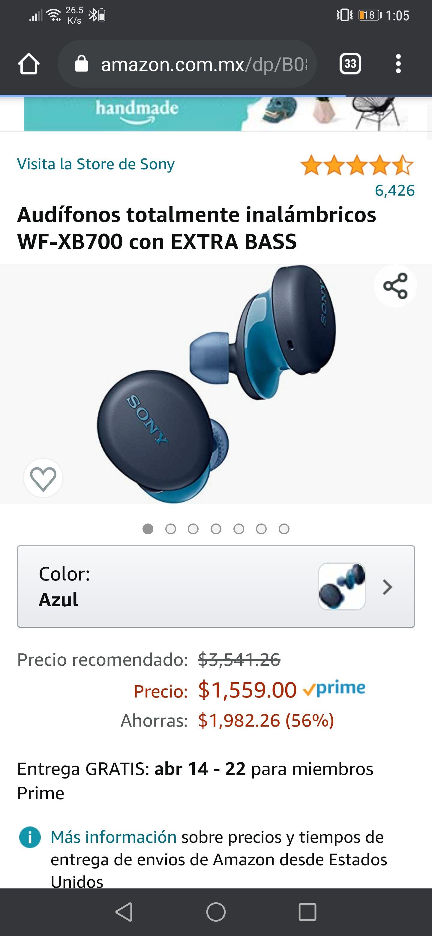 Amazon : Audífonos Sony inalámbricos WF-XB700 con EXTRA BASS de $2,429 a $1,547 mejor precio histórico Keepa