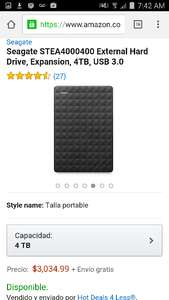 Amazon: Seagate STEA4000400 External Hard Drive, Expansion, 4TB, USB 3.0 (Vendido y enviado por un tercero)