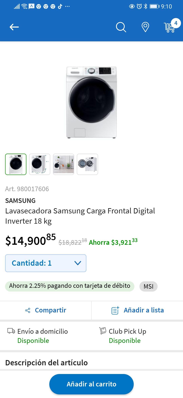Sam's Club: Lavasecadora Samsung Carga Frontal Digital Inverter 18 kg. Aplica a 18 meses s/ints. Vigente del 26 de febrero al 1ro marzo