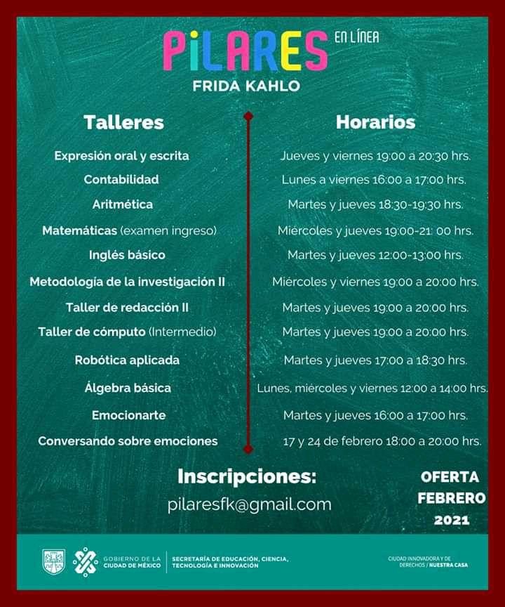 Talleres de febrero en Pilares Frida Kahlo