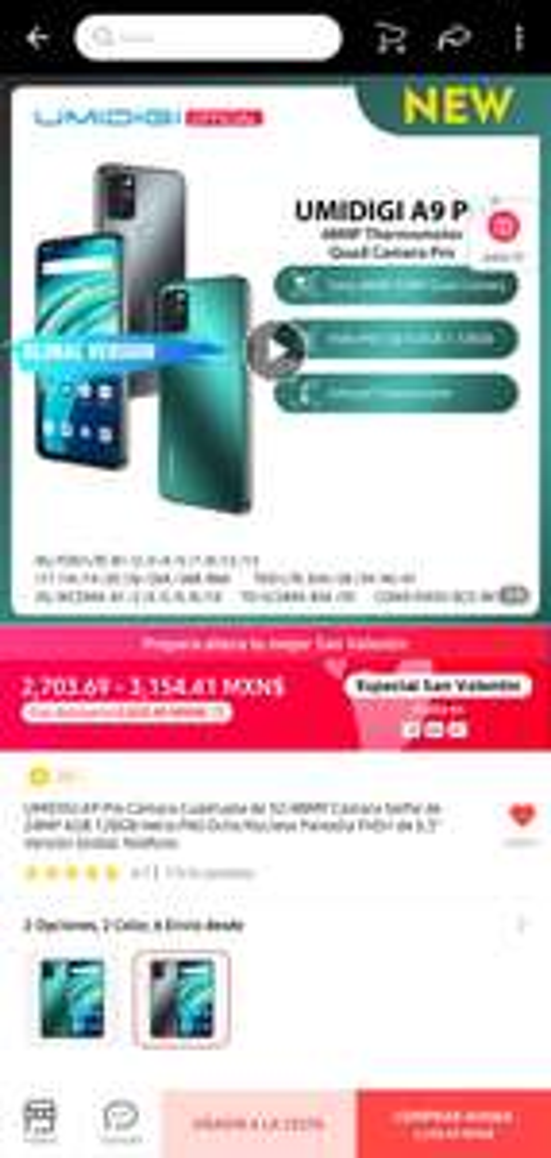 AliExpress: UMIDIGI A9Pro 6gb RAM, 128gb Interna