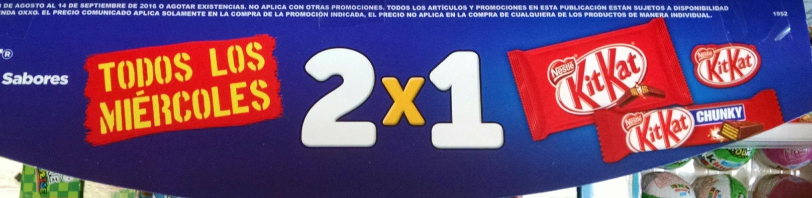 Oxxo: Kit Kat 2x1 los días miércoles y combo de 2 Kit Kat o Crunch por $20 cualquier día