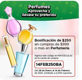 Bodega Aurrera: BONIFICACIÓN DE $250 X CADA $999 EN PERFUMES