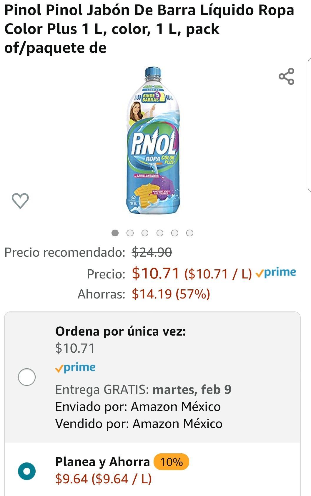 Amazon: Pinol Pinol Jabón De Barra Líquido Ropa Color Plus 1 L 11/02/21