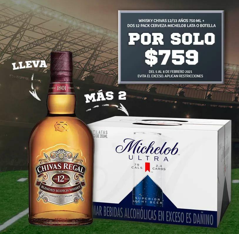 Soriana: Whisky Chivas 12 + Dos 12 Pack de Michelob Ultra