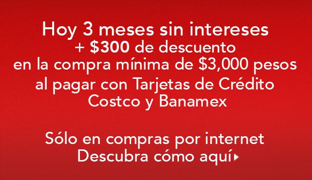 Costco: cupón de $300 de descuento + 3 meses sin intereses con Banamex